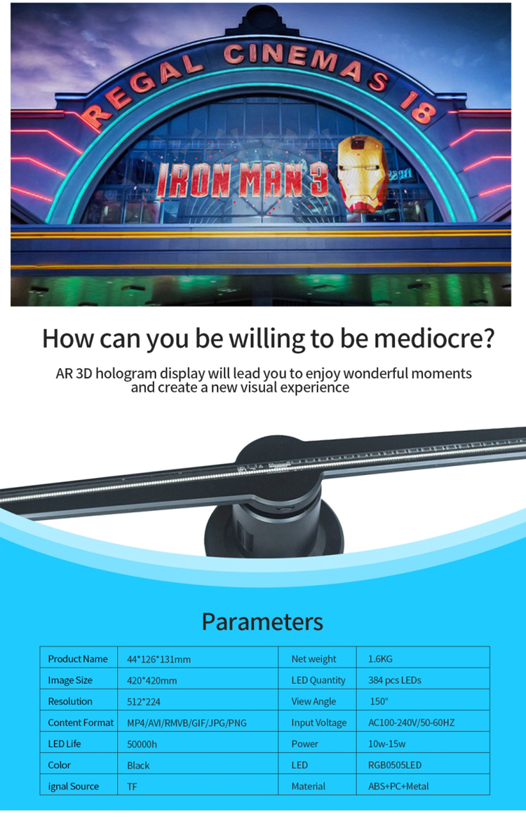 2019 42cm Top Quality Shopping Mall,Bar,Restaurant,Chain Store 3D LED Hologram Display projector