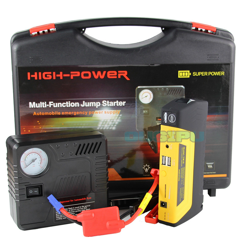 600A Peak Portable Car Jump Starter Phone Power Bank TM15 Yellow Auto Battery Pack Booster Charger with LED Light