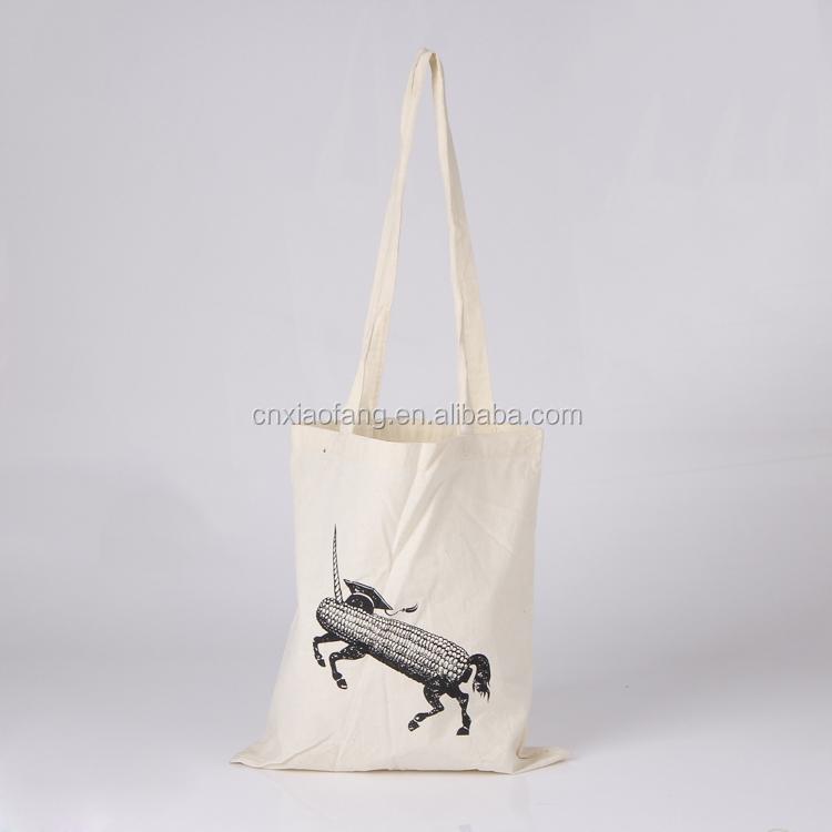 long handle natural color thin cotton bag Printed