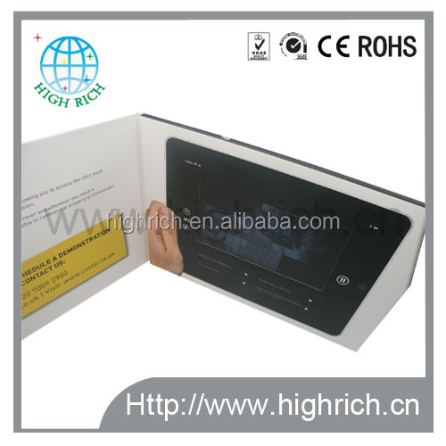 TFT lcd screen video display greeting card/video brochure/video postcard