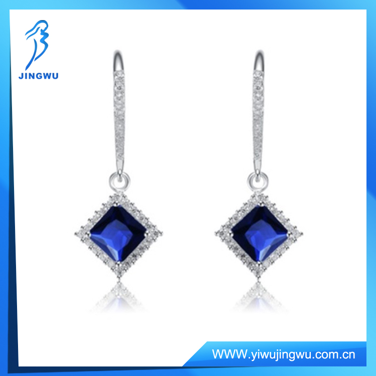 Cubic SS Rhodium Plated Diamond Shape Dangling Earrings