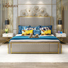 Ornament gold stainless steel double bed murphy modern design