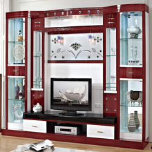 Living room simple marble tv stand wall units red wood furniture glass tv cabinet