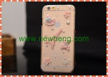 Paris Flower diamond jewel cover case for iphone 6 & 6 plus
