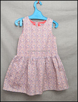 OEM service for sleeveless girl's dress, printed poplin nice dress with lining
