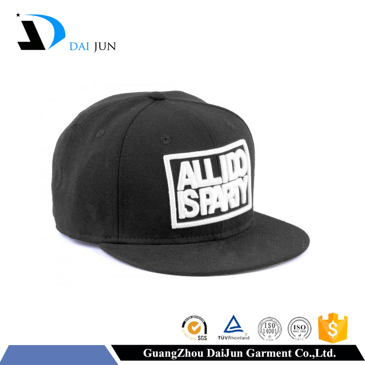 Daijun oem 100% cotton black colour flat embroidery plastic back buckle curved custom high quality cap top buttons