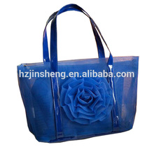 new flower transparent pvc luxury beach tote bags