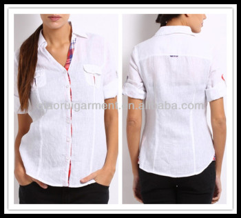 2015 Latest New Fashion Design Lady Blouse Woman White Linen Casual Shirt