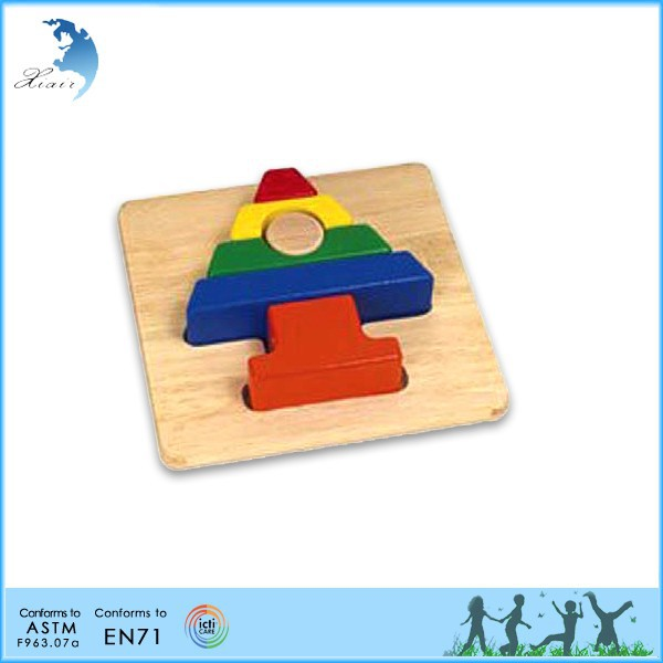 Wood engraved kindergarten montessori material toys Primary puzzles Tree