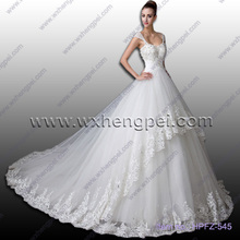 A word shoulder set auger floor length lace wedding dresses