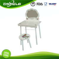 OEM&ODM SEDEX Approved Good Price Girls Toy Make Up Mirror Dressing Table With Chair