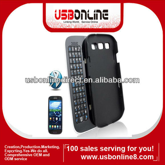 Detachable removable sliding Bluetooth 3.0 Keyboard case for Samsung Galaxy S3 SIII