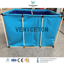 China pvc foldable plastic canvas fish tank aquaculture tank