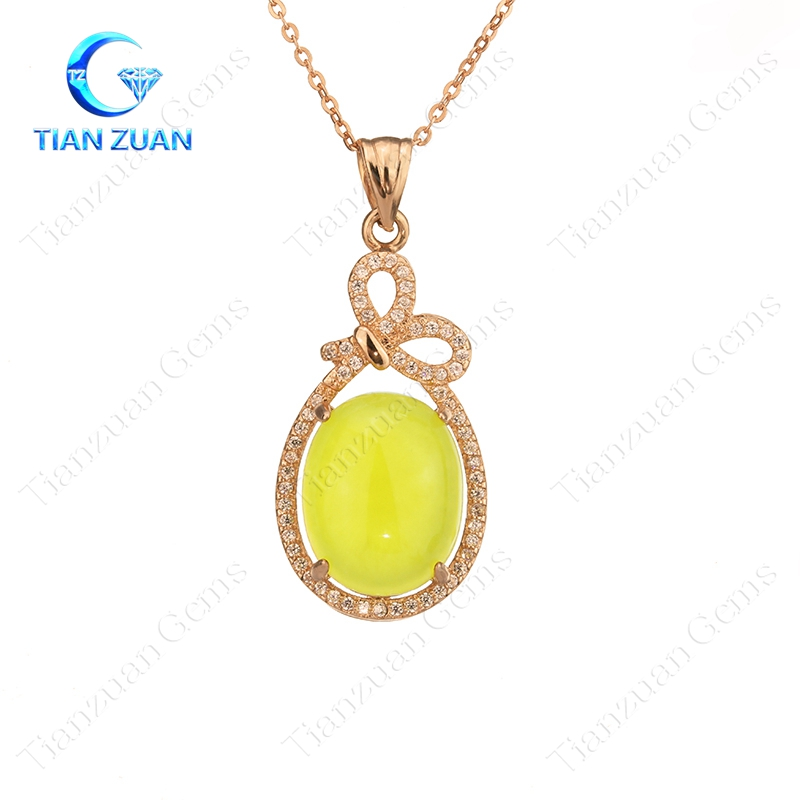 natural prehnite pendant with 925 sliver plating rose glod for jewelry