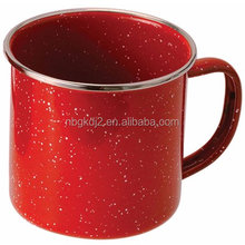 Outdoors Stainless Steel Rim Enamelware Cup, Red enamel mug
