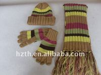 New Design Kid's Striped Hat gloves and Scarf Set