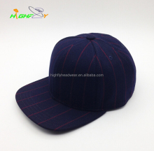 navy stripes fabric blank snapback caps supplier in China