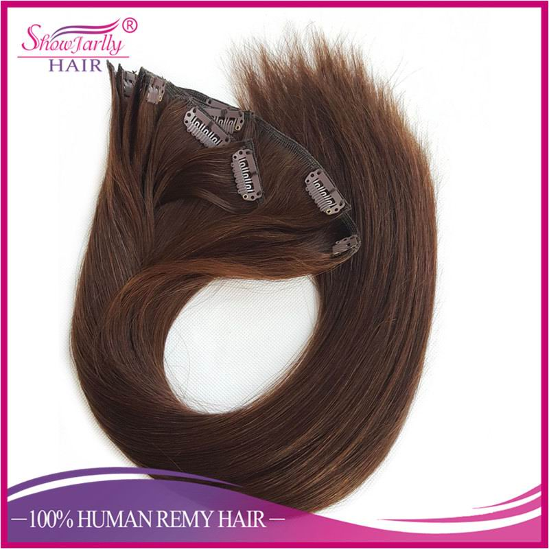 China Ali wholesale clip in human hair extensions brown color remy European clip ins for white women with strong Korea made clip