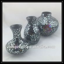 Silvery Black Color Mosaic Cheap Handmade Art Small Floral Single Murano Glass Vase
