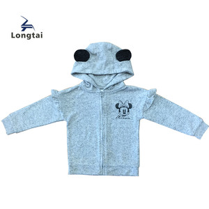 cute print Kids Toddler Girls Hood Knitted Cardigan Baby clothes brushed Fabric Bear Ears clothes brushed