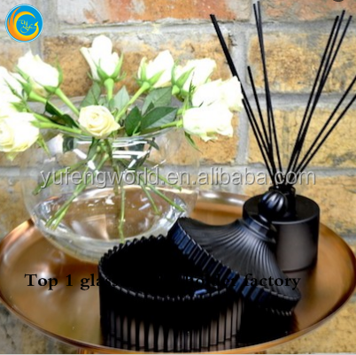 Luxury black glass candle jar candy jar from Yufengcraft