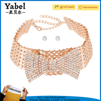 Wholesale diamond necklace sets rhinestone bow tie collar choker style necklace