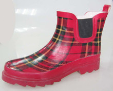 red plaid garden wellies fancy women low cut rain boots