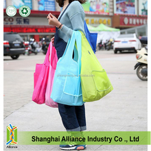 Ripstop 210D Polyester Foldable Shopping Bag Folded into Small Pouch with Zipper Close(Z-FB-045)