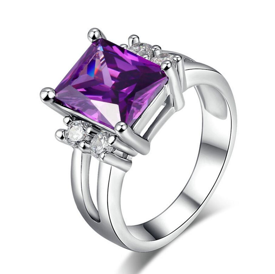 2016 Fashion Jewelry Platinum plated Rectangular amethyst <strong>ring</strong> Lady's Finger <strong>Rings</strong> Size 6/7/8/9/10