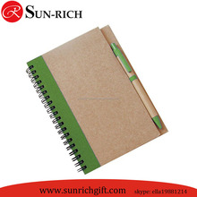 Hot selling brown craft paper cover A5 Spiral notepad with ball pen wholesale