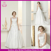 SD1134 sheer top round neck lace wedding dress cheap wedding dress under 100 us dollars
