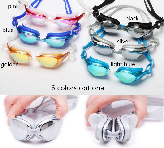 High Quality Mirrored Lens Silicone swimming Goggles Adjustable