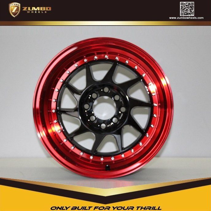 ZUMBO S0046 New Design 15/16 Inch Black Machine Lip+Red Coating Car Alloy Wheels