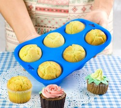 Muffin Pancakes Biscuit Pans 6 Cupcakes Silicone Mold Cups Mold Non Stick Tray Bakeware