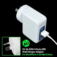 Quad USB 20W 4 port white High Capacity FAST AC Travel Charger for iPhone, iPad, Samsung and Android Smart Phone and Tablet