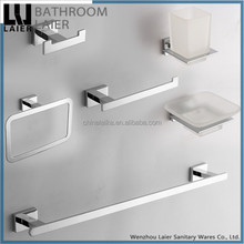 Simple Bathroom Designs ZInc Alloy And Glass Chrome Finishing Wall-Mounted Bathroom Accessories Set