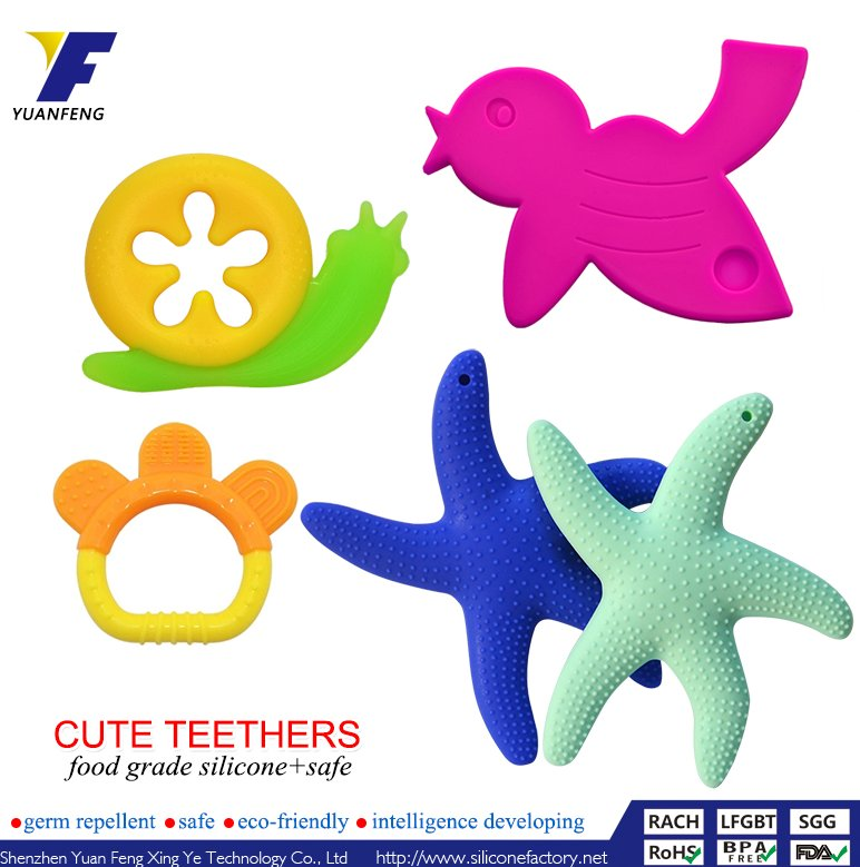 Animal/Fruit Shape Safe Eco-friendly Silicone Teether Kids/Baby/Adult/Infant Teething Toy