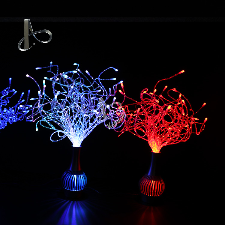 Splendid color changing fiber optic flower lamp with vertical shape in event party table light