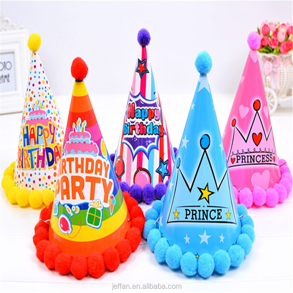 Promotion luxury Birthday Party hat cartoon printing paper cap with flannel ball
