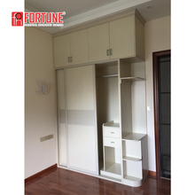 Modern double color wooden wardrobe with dressing table designs furniture 3 sliding door bedroom wall for wardrobe cabinet