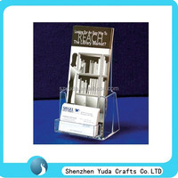 Custom table top acrylic name card stand with brochure holder display