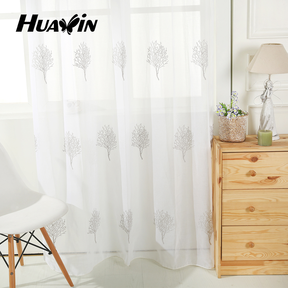 hot selling 100% polyester tree design sheer embroidery curtains fabric for home