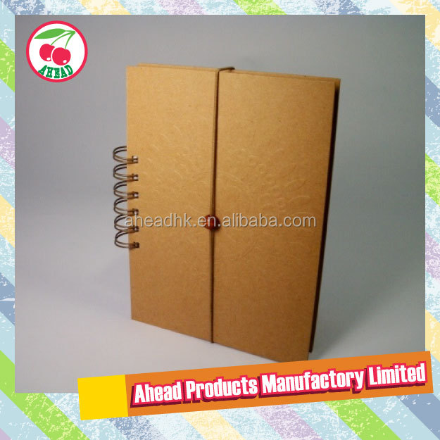 paper wrapped hard cover Kraft pu cover notebook
