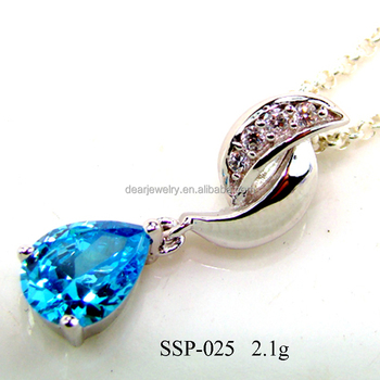 New Arrival 925 Silver Large Mystic Blue Topaz Pendant For Necklace