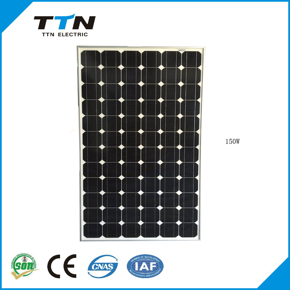 China manufacture 150w TTN monocrystalline solar pv model with high quality