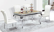 Comtempered Elegant Tempered Glass Metal Dining Set,Hotel Dining Table and chair