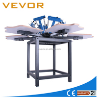 6 color 6 station manual t-shirt screen printing machine with stand