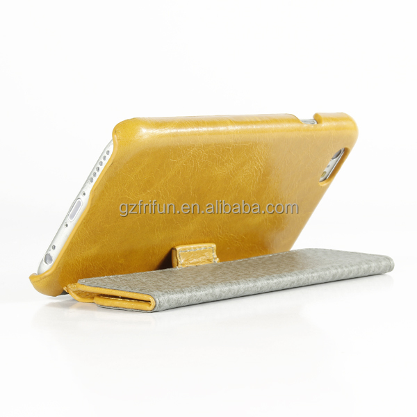 Fashion bright yellow PU leather case,two fold flip cover 4.7 inch