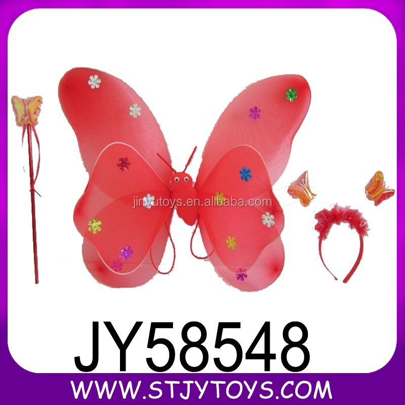Red color double paillette butterfly toy for girl