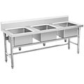 Freestanding Commercial Stainless Steel 3 Three Compartment Sink